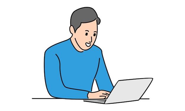 Feliz empresário trabalhando com laptop