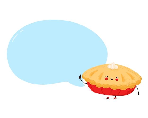 Feliz engraçada torta caseira com bolha do discurso. isolado no fundo branco. personagem de desenho animado desenhado à mão estilo ilustração