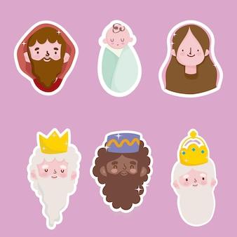 Feliz epifania, adesivos de três reis sábios mary jospeg e bebês jesus