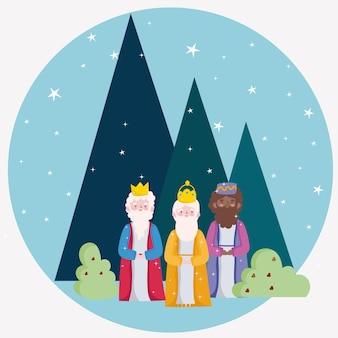 Feliz epifania, paisagem estrelada de três reis sábios à noite