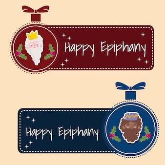 Feliz epifania, reis sábios em banner de decoração de bola