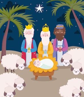 Feliz epifania, três reis sábios, bebê jesus e ovelhas