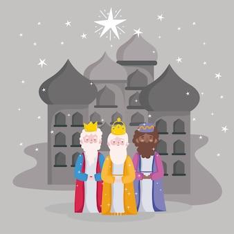 Feliz epifania, três reis sábios da cidade de belém Vetor Premium