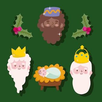 Feliz epifania, três rostos de reis sábios e o bebê jesus
