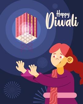 Feliz evento de celebração diwali