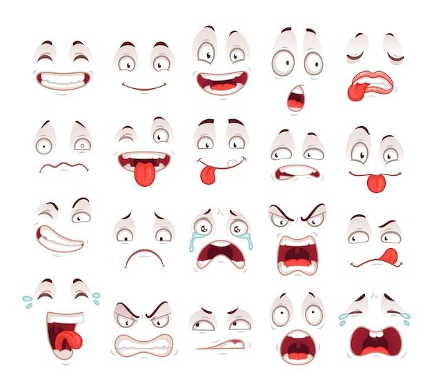 Feliz, excitado, sorrizo, rir, infeliz, triste, grito, boca, e, louco, doente, assustado, rosto, expressões, personagem, símbolo