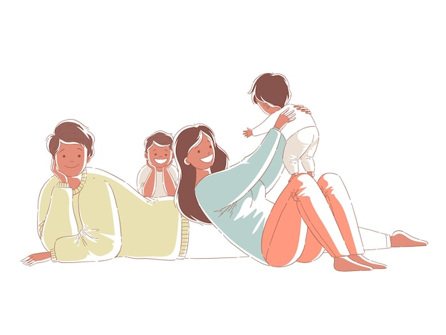 Feliz família afro-americana a passar tempo com as crianças