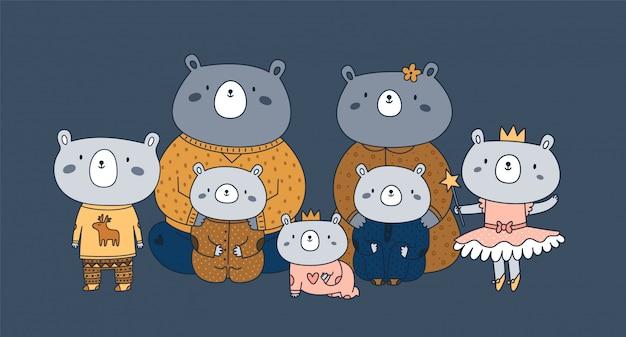 Feliz família animal fofa de ursos de pelúcia: o melhor pai de todos os tempos, pai, mãe, mãe, filhos, irmã, irmão, bebê recém-nascido