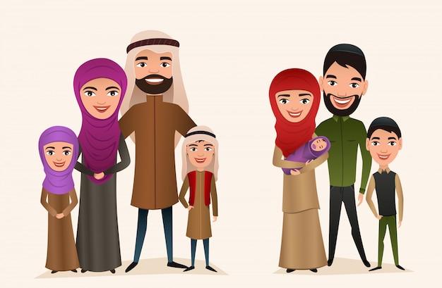 Feliz família árabe com conjunto de crianças