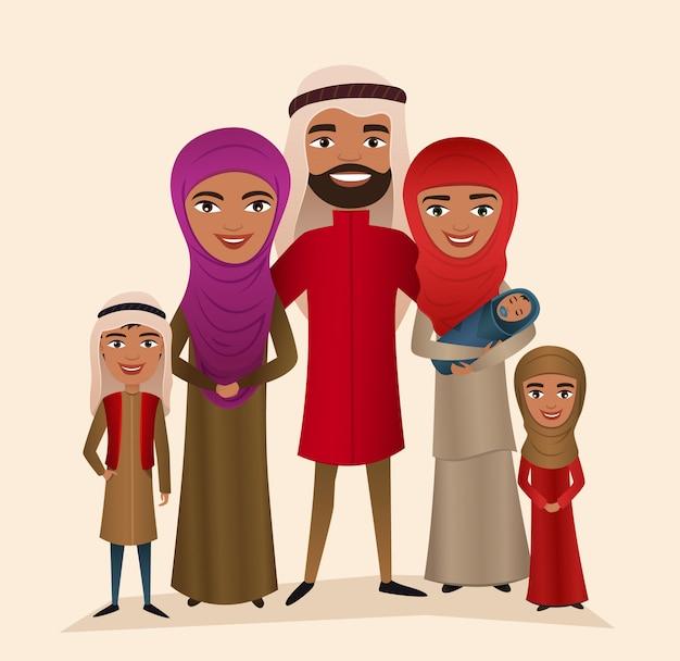 Feliz família árabe com filhos