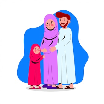 Feliz família árabe ilustração