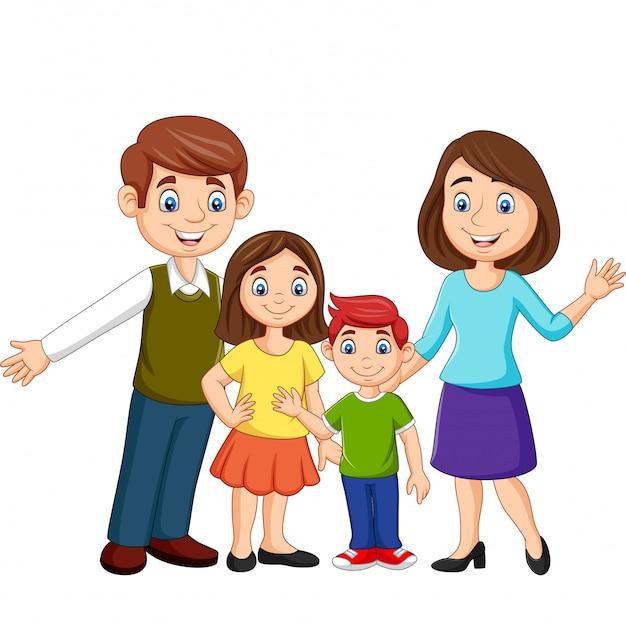 Feliz família dos desenhos animados