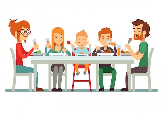 Feliz, família grande, comendo jantar, junto, ilustração