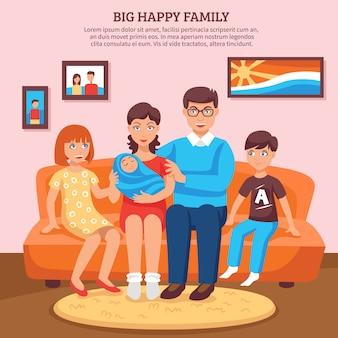 Feliz, família, ilustração