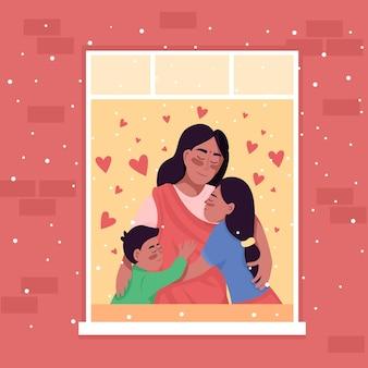 Feliz família indiana na ilustração colorida da janela em casa.