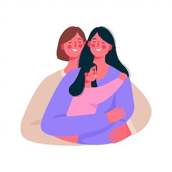 Feliz família lésbica, casal gay com um bebê.