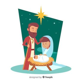 Feliz, família, natividade, fundo