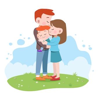 Feliz, família, vetorial, ilustração
