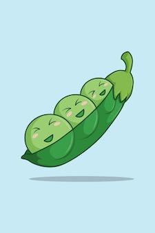 Feliz feijão verde na ilustração dos desenhos animados do dia mundial de vegetais