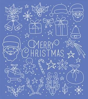 Feliz feliz natal cartão com fonte de caligrafia e conjunto de ícones
