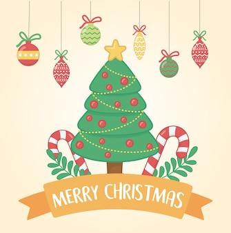 Feliz feliz natal cartão com pinheiro