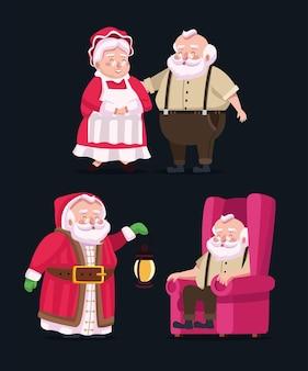 Feliz feliz natal grupo de personagens do papai noel da família