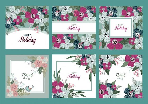 Feliz feriado. conjunto de modelos para cartões e banners com flores bonitos doodles,