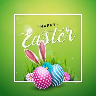 Feliz feriado da páscoa com ovos pintados
