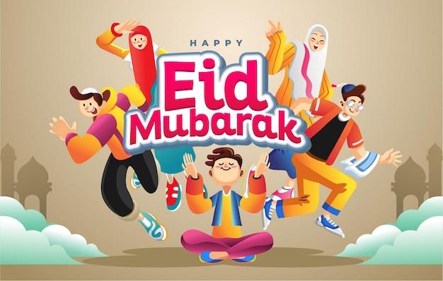 Feliz feriado de eid mubarak com jovens muçulmanos alegres de terno amarelo dourado