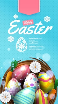 Feliz feriado de páscoa com ovo pintado, cenoura coelho e flor