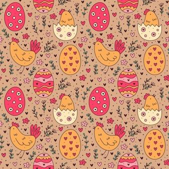 Feliz feriado de páscoa doodle padrão sem emenda