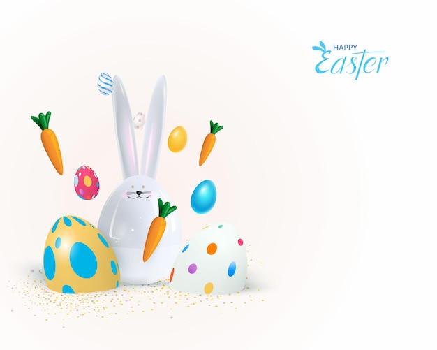 Feliz feriado de páscoa. projeto festivo com coelho 3d.