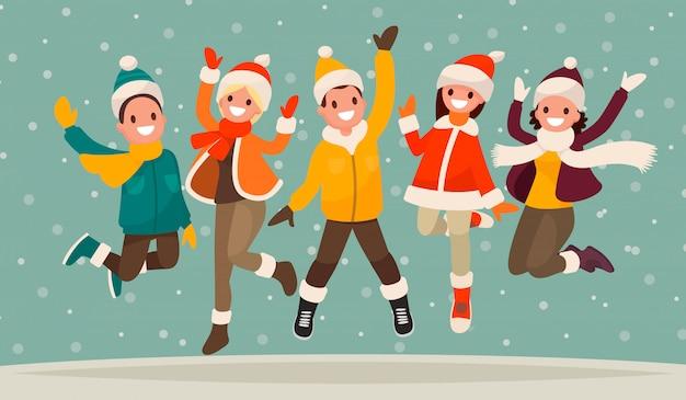 Feliz férias de inverno. pessoas bem vestidas no salto. o conceito de descanso ativo e passatempo alegre. Vetor Premium
