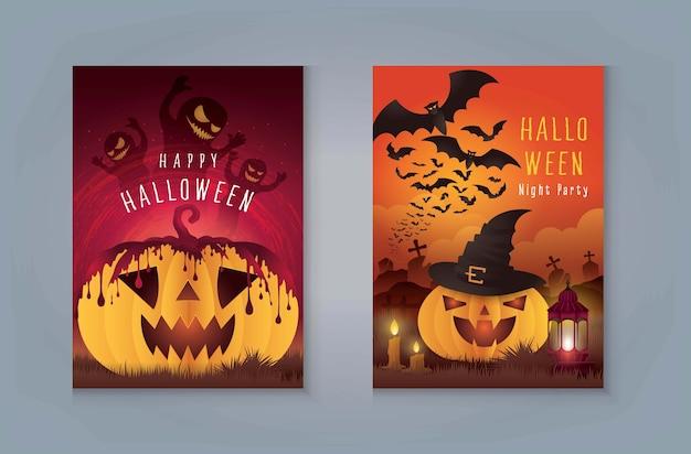 Feliz festa da noite de halloween, abóbora de halloween com sangue e fantasmas. abóbora com cemitério e monstro morcego para cartão de convite. abóbora com sepultura e selva.
