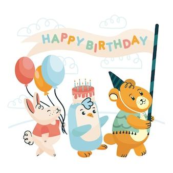 Feliz festa de aniversário com animais selvagens