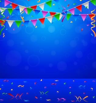 Feliz festa de aniversário com bandeiras de triângulo