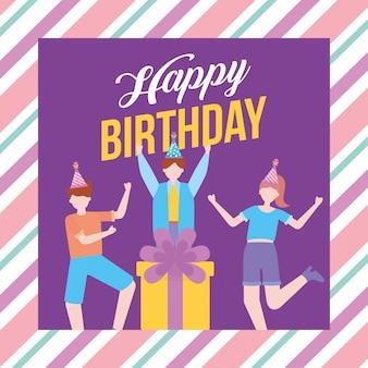 Feliz festa de aniversário com ilustração de jovens