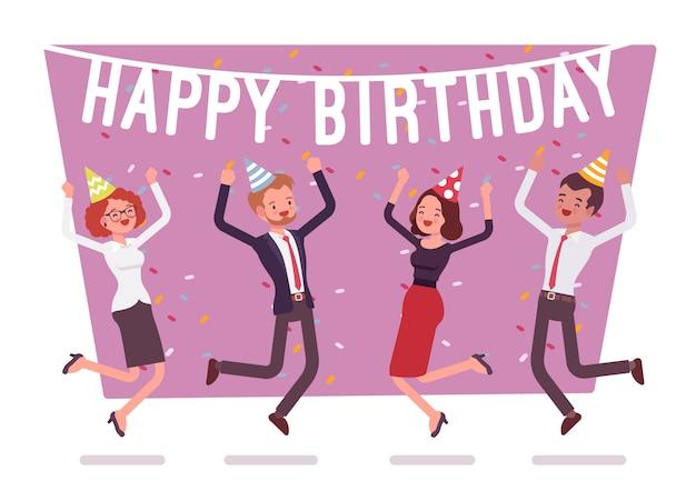 Feliz festa de aniversário no escritório