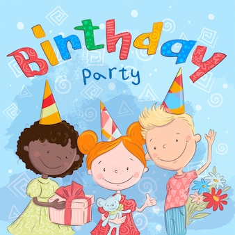 Feliz festa de anos com filhos bonitos com presentes. desenho à mão. estilo de desenho de ilustração vetorial