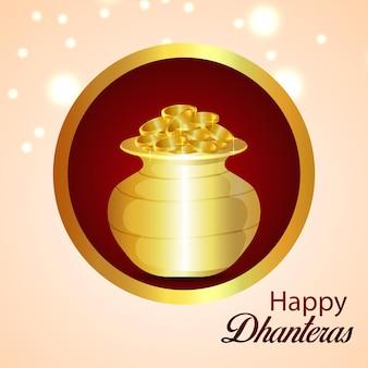 Feliz festa de celebração dhanteras com pote de moedas