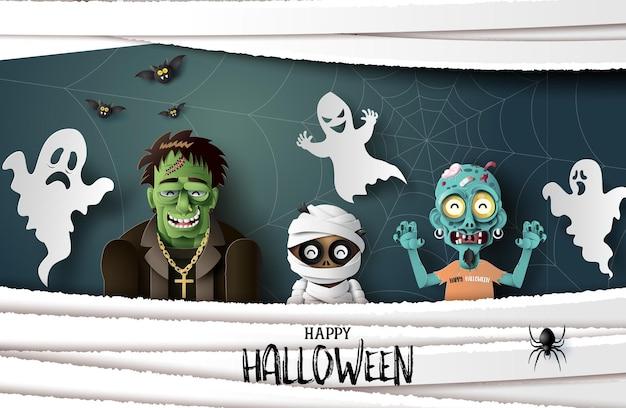 Feliz festa de halloween, arte em papel e artesanato digital.