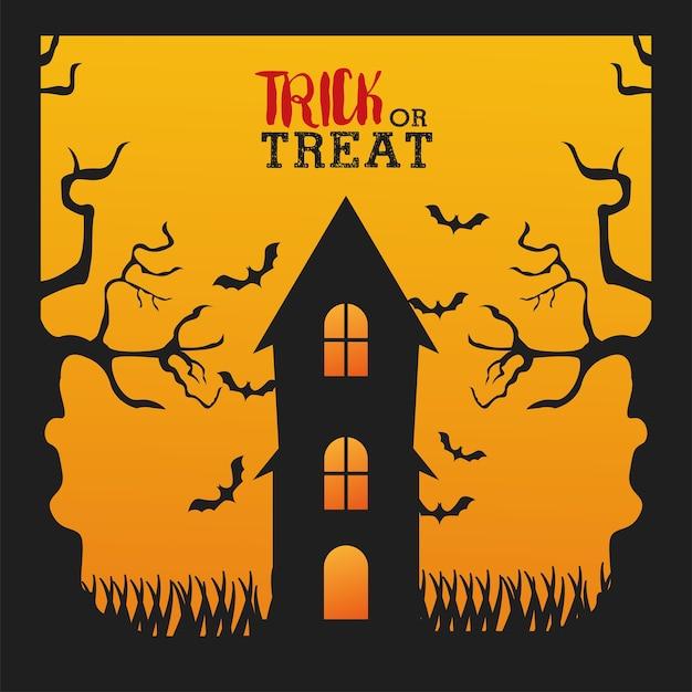 Feliz festa de halloween com casa mal-assombrada e morcegos voando design de ilustração vetorial