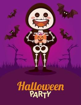 Feliz festa de halloween com esqueleto e morcegos voando