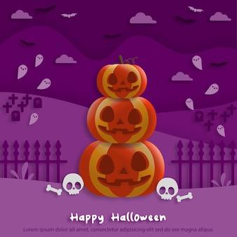 Feliz festa de halloween em estilo de papel de arte com abóboras. cartão de felicitações, cartazes e papel de parede. ilustração vetorial.