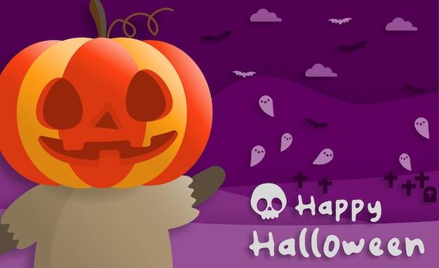 Feliz festa de halloween em papel arte estilo com criança vestindo uma fantasia de abóbora
