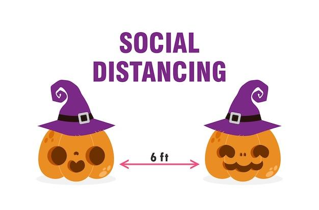 Feliz festa de halloween para o novo conceito normal cabeça de abóbora e distanciamento social protegem o coronavírus