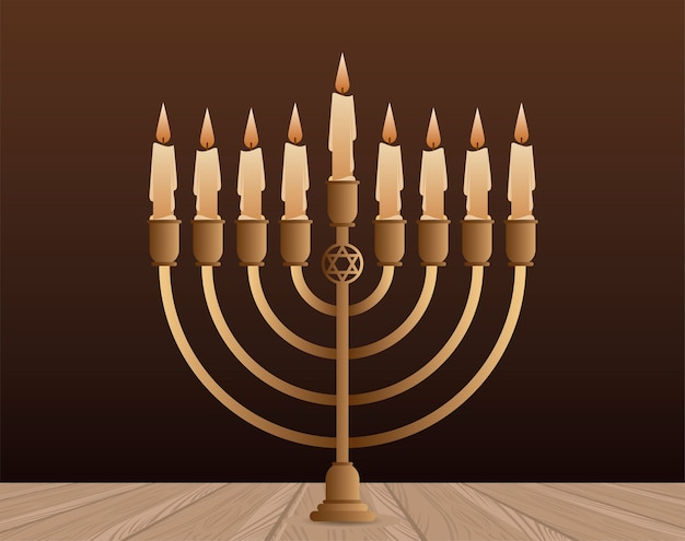 Feliz festa de hanukkah com desenho de ilustração de candelabro