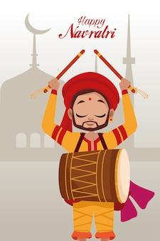 Feliz festa de navratri com homem tocando tambor