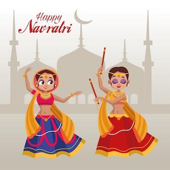 Feliz festa de navratri com mulheres dançando e taj mahal