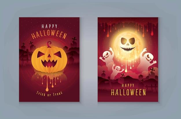 Feliz festa de noite de halloween, fantasma com cemitério e lua. abóboras de halloween com sangue.